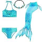2XDEALS Meerjungfrau Schwanz mit Meerjungfrau Badeanzug Schwanzflosse Zum Schwimmen Kostüm Für Kinder Mädchen, 9-10 Jahre, Wasser