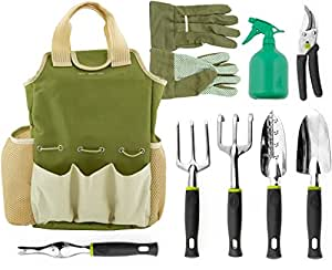 Vremi 9 Piece Garden Tools Set - Gardening Tool Kit with Tote Bag Organizer and Working Gloves for Men and Women - Gift Set for Vegetable Indoor and Outdoor Garden - Trowel Pruner Rake Weeder and More