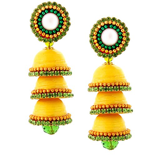 Halowishes Hancrafted Paper Quilling Yellow Triple Jhumka - 239  available at amazon for Rs.309