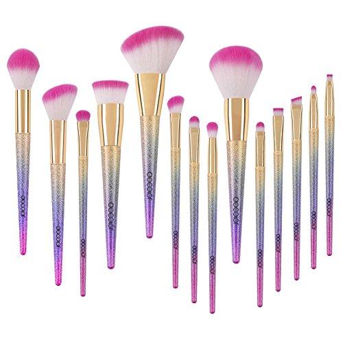 Brochas para Maquillaje, Docolor Set de Brochas Kabuki 14+1 con Base Correctora en Polvo Brochas de Maquillaje para Ojos y Brochas para Mezclar, Brochas Cosméticas para Polvo, Liquido y Crema