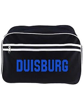 Retrotasche Schriftzug Duisburg schwarz