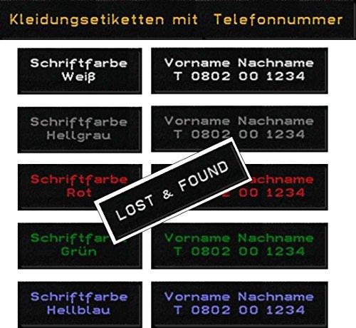 LOST & FOUND 50 Kleidungsetiketten, Etiketten mit Ihrem Namen und Telefonnummer zum Einnähen 15mm