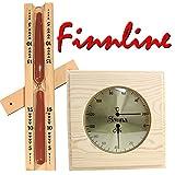 Finn Line I Thermometer–Hygrometer Combination Set I on & Hour Glass Hygrometer with Elegant Wood Frame I Klassc Czech 15Minute Sand Timer with Deep Red Sand I I I Sauna Accessories
