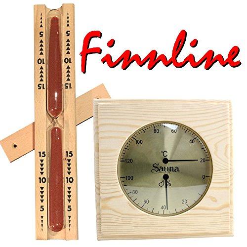 Finnline Sauna Thermometer - Hygrometer - Kombination & Sanduhr im Set I Klimamesser in schönem Holzrahmen I Klasschische Sanduhr 15 Minuten mit dunkelrotem Sand I Zubehör I Sauna I Saunazubehör