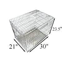 AOOPOO Dog Puppy Cage Folding 2 Door Crate with Non-Chew Metal Tray, Black, Medium, 30 Inch (Silver)