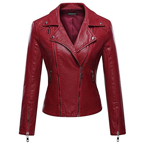 iBaste PU Lederjacke für Damen Kunstlederjacke Leather Jacket Revers Bikerjacke Kurzjacke Herbstjacke-RD-4XL