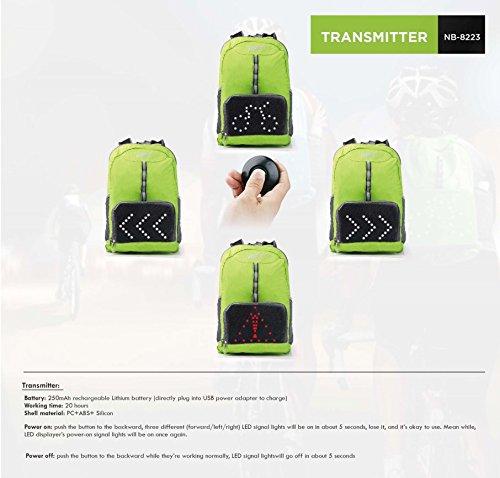 VUP Plus faltbar für Rad-Rucksack mit LED Signal Licht Kabelloser Fernbedienung werden, leichtes Gewicht, Super atmungsaktiv, wasserabweisend, Schwarz, grün (Plus Zyklus)