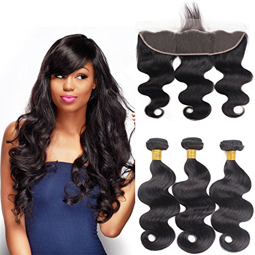 10A 13x4 Ear to Ear Lace Frontal Closure with Hair Bundles Brazilian Virgin Hair 3 Bundles Body Wave with Closure for Women Natural Black Color (14