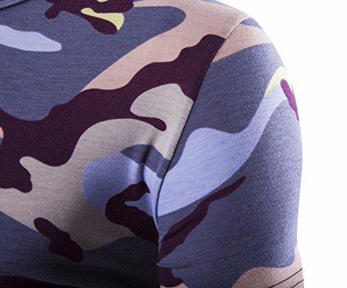 QIYUN.Z Männer Tarnung Kurze Hülse/Ärmel Hipster Camo T-Shirt Turnhalle Muskel-Shirts Lila Tarnung