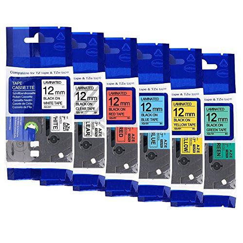 6er P-Touch TZ 12mm Schriftband kompatible Brother TZe231/ TZe131/ TZe431/ TZe531/ TZe631/ TZe731 Laminiert Etikettenband schwarz auf weiß/transparent/rot/blau/gelb/grün 26.2 Feet (8m) länge