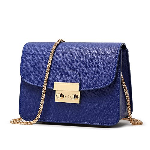 Gabbana Gold Leder (Canvas-Optik Luxus Clutch Mode Elegante Damen Handtasche Handgelenktasche mit 3 Seitenfächern hochwertige Leder-Optik Schultertasche Umhängtasche Damentasche (Blau))