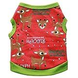 Weihnachten Haustier Hund Welpen Kleidung Baumwolle Deer Muster Weste Haustier Katze ärmellosen Shirt (M, Rot)