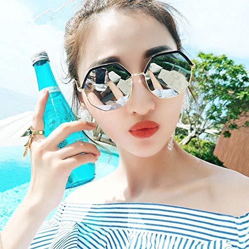 Koreanische Studenten runde Sonnenbrille weibliches rundes Gesicht Sonnenbrille großes Gesicht dünne Mode großen Rahmen Street Beat (senden Spiegel Box Spiegel Tasche Spiegel Geschenk), Goldrahmen we