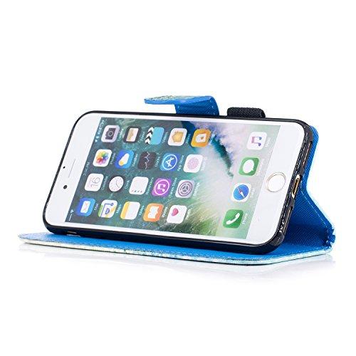 Custodia iPhone 7 / iPhone 8 Cover ,COZY HUT Flip Caso in Pelle Premium Portafoglio Custodia per iPhone 7 / iPhone 8, Retro Animali di cartone animato Modello Design Con Cinturino da Polso Magnetico S Amare la sabbia verde