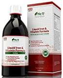 Liquid Iron Supplement 1 Litre 50 Days Supply Fortified with Vitamins and Herbal Extracts Includes Vitamin B2, B6, B12 and Vitamin C, Great Tasting Vegetarian & Vegan Liquid Iron by Nu U Nutrition