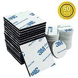 Nastro biadesivo in schiuma, 50pezzi cuscinetti in schiuma biadesivo forte montaggio, quadrato e rotondo, bianco & nero