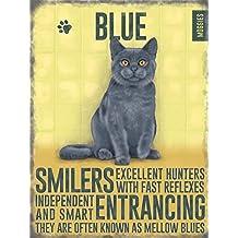 Estilo de la vendimia de pared de Metal placa de gato azul ruso gato regalo