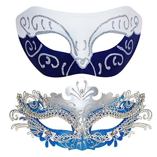Venezianische Masken, Halloween-Kostüm, Mardi Gras,1Paar White-Blue+Sliver-Blue
