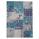 MyShop24h Alfombra Salón Plano Flor algodón Tejida a Mano Patchwork Diseño Turquesa Azul