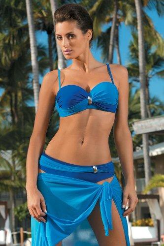 Marko Liliana M-259 Bikini Fenomenale E Molto Sexy Con Push-Up Ed Elementi Dorati Blu marino