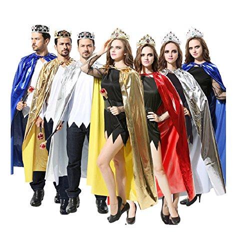 Königin König Kostüm - Matissa Cape und Krone Set Kostüm für Erwachsene und Kinder König Königin Prinz Prinzessin Umhang und Krone Cosplay Unisex Kostümfest (König, Rot)