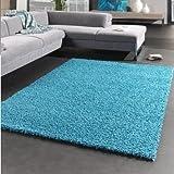 Paco Home Hochflor Shaggy Langflor Teppich u. Grössen, Grösse:160x230 cm, Farbe:Türkis