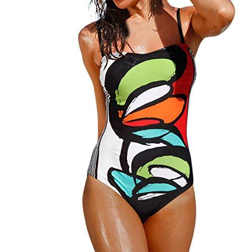 UFACE Bademode Badeanzug Frauen Bademode Bikini Print One Piece Push-Up gepolsterte Bade Beachwear XW-045 (Multicolor, XL)