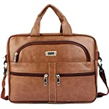 SLUE BAGS Tan Artificial Leather Men Women Laptop Bag Cross Over Shoulder Messenger Bag Office Formal and Classic Bag