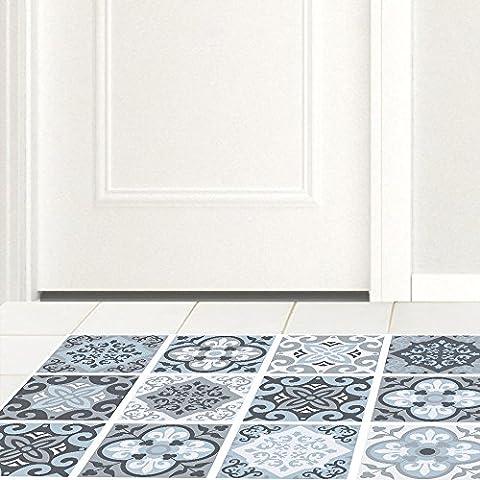 3D floor sticker, home decor, blue gray tiles, kitchen study,