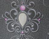 Harald Glööckler Designer Barock Tapete Deux 54425 - Silber Rosa