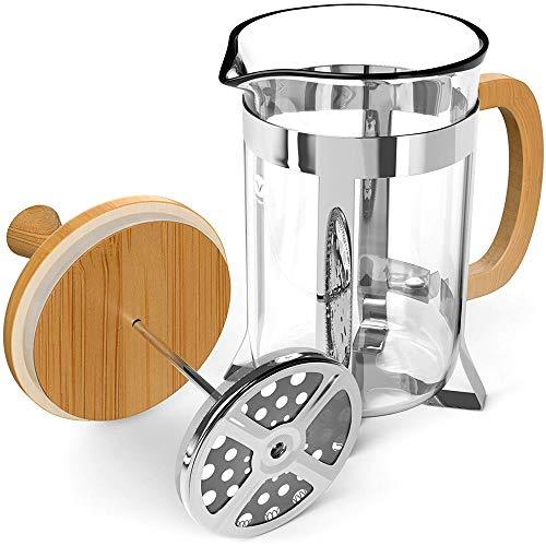 LARRY SHELL Francese Press caffè Tea Maker bambù Legno borosilicato Vetro Spessore Durevole Resistente al Calore Vetro con montalatte Adatto per casa Cucina ufficio-600ml
