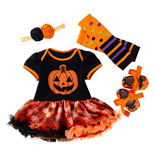 WAFA Infant Baby Mädchen Kürbis erste Halloween Weihnachten Kostüm Stirnband Outfit anziehen (4-6 Monat)