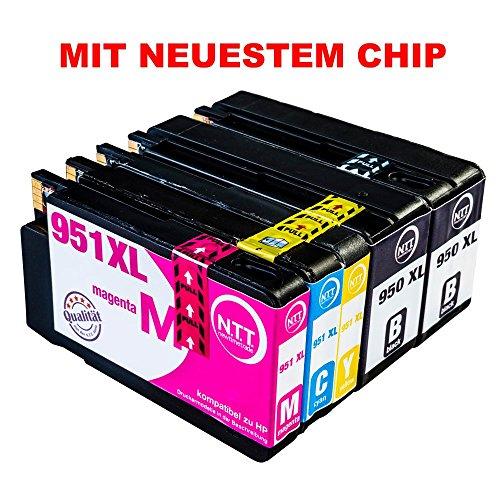 Preisvergleich Produktbild N.T.T.® 5x Tintenpatronen kompatibel zu HP 950 HP 951 XL ( 2 Schwarz, 1 Cyan, 1 Magenta, 1 Yellow ) Multipack kompatibel zu HP OfficeJet Pro 8600, 8610, 8620, 8630, 8640, 8660, 8615, 8625, 8100, 251dw, 271dw Druckerpatronen kompatibel zu HP950 XL HP951 XL