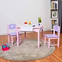 COSTWAY Kids Table Chair Set, Wooden Table and 2 PCS Chairs with Storage Drawers or Bins