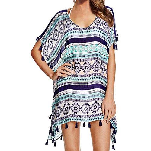 Jastore®5 Farben Pareo Damen Strandponcho Sommer Überwurf Kaftan Strandkleid Bikini Cover Up (Pattern)