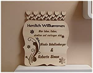flowerpower familienschild t rschild holz mit gravur mutter und kind vater namen. Black Bedroom Furniture Sets. Home Design Ideas