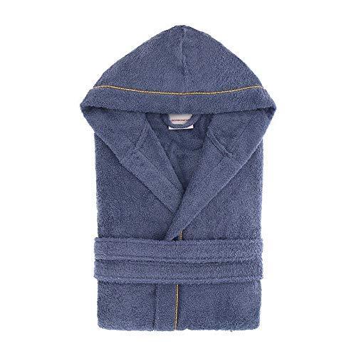 Accappatoio con cappuccio borbonese art. fine op in pura spugna idrofila 380 gr al mq mis. m (var. jeans)