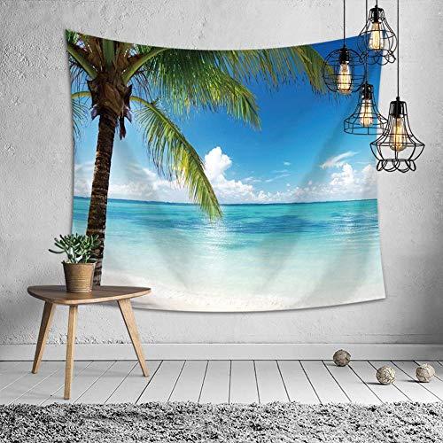 Axiba Tapices, Mantel de mar Pintado de árbol de Coco de Playa...