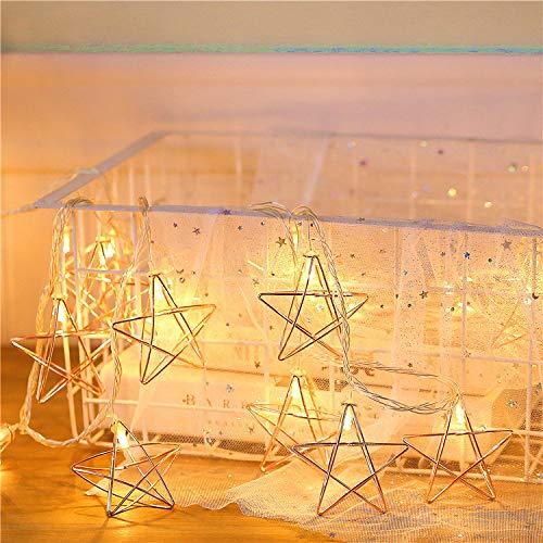 Led luci fatate con batteria in ferro battuto a forma di stella led luce bianca calda ragazza cuore stanza layout decorativo batteria luce vacanza decorazione albero di natale