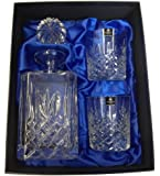 Square Hand Cut Lead Crystal Decanter and Pair of Old Fashioned Whisky Glasses in Silk Lined Presentation Box