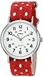 Timex Unisex TW2R104009J Weekender Red Polka Dot Fabric Over Leather Slip-Thru Strap Watch