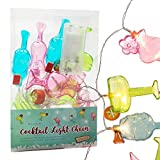 Bunte Cocktail Girlande Lichterkette 10 LEDs batteriebetrieben Deko Party Licht Tropical Sommer