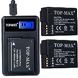 TOP-MAX® 2X DMW-BLC12, DMW-BLC12E, DMW-BLC12PP Akku + USB Ladegerät für Panasonic Lumix DMC-FZ200, DMC-G5, DMC-G6, DMC-G6K, DMC-GH2