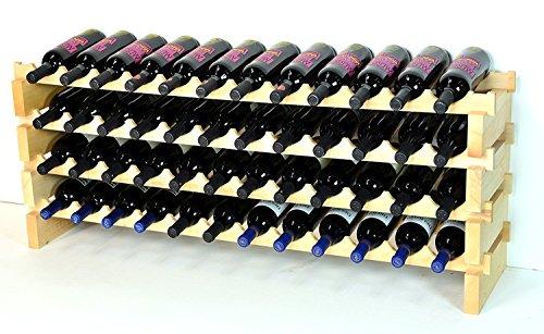 Modular Wine Rack Beachwood 48-144 Bottle Capacity 12 Bottles Across up to 12 Rows (48 Bottles - 4 Rows) by sfDisplay.com,LLC. - Modular Wine Rack