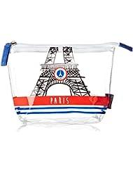 Incidence Paris Trousse de Toilette Transp Paris French Touch, 19 cm, Blanc