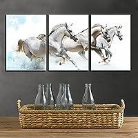 FanVass Stampa trasferimenti su tela Art White Horses animali ,