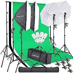 FOSITAN Kits d'éclairage Studio Kit Studio Photo avec 2.8M x 3M Fond (Noir Blanc Vert)+2 softbox+2 Parapluie +Eclairage continu de 800W 5500K+ 2M Support de Fond pour Photographie Studio