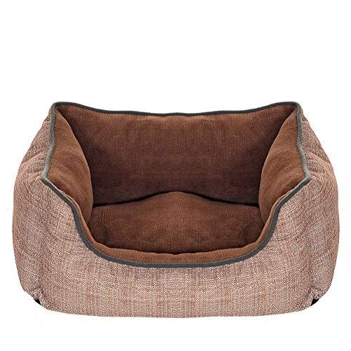 Pet Violet Hundebett Extra Weich mit XL Wendekissen   Rand Hoch und Stabil   Bissfest, Wasserabweisend und Waschbar; 50x38x18 cm in Braun