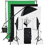 BPS 2850W 5500K Kit Softbox Fondo Estudio Fotográfico - Portalámpara 5 en 1 iluminación continua + Softbox 50x70cm + Soporte tipo jirafa de luz + Bolsa de transporte + Fondos (verde,negro,blanco) y Soporte - Equipo completo de estudio fotografía profesional para vídeo y retrato