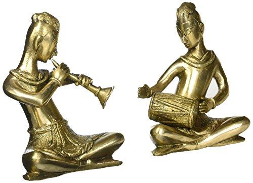 ShalinIndia Musiker Spielen Dholak Und Shehnai, Gold, Größe: 12,7x 12,7x 15,2cm